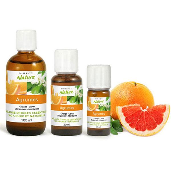 Melange synergie huiles essentielles agrumes